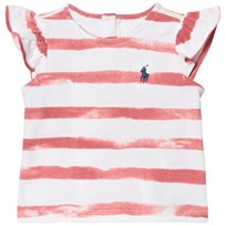 Ralph Lauren Cotton Flutter-Sleeve Tee Salmon Berry Pink and White 001