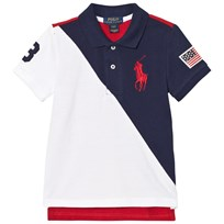 Ralph Lauren Color-Blocked Cotton Mesh Polo Navy, White and Red 001