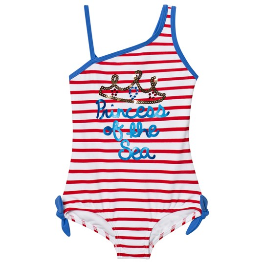 Lands' End Multi Graphic Princess Of the Seaside Stripes Swimsuit Multi