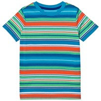 Lands End Multi Stripe Coral Poppy Tee Multi