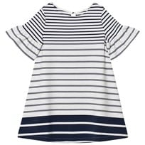 Lands End White Bell Sleeve Ponte Dress MIDNIGHT NAVY STRIPE