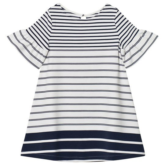 Lands' End White Bell Sleeve Ponte Dress MIDNIGHT NAVY STRIPE