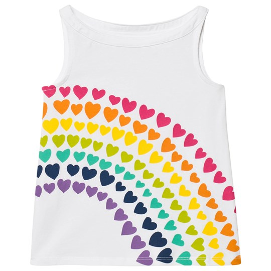 Lands' End White Graphic Tank Rainbow