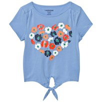 Lands End Blue Tie Front Top FLORAL HEART