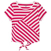 Lands End Pink and White Tie Front Top HOT PINK LARGE STRIPE