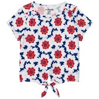 Lands End Blue and White Tie Front Top BRIGHT SCARLET FLOWERS