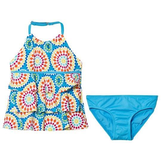 Lands' End Blue Lush Tropics Tiered Tankini Set SKY BLUE KALEIDOSCOPE PRINT