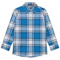 Lands End Blue Poplin Shirt BRIGHT BOREAL BLUE PLAID