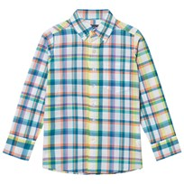 Lands End White Poplin Shirt WHITE MULTI PLAID