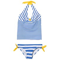 Lands End White Dark Latigo Blue Stripe Halter Tankini White