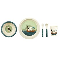 Blafre Children´s Dinner Set Bamboo Puffin Blue