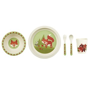 Image of Blafre Childrens Dinner Set Bamboo Fox (2971913853)