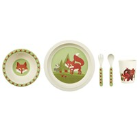 Blafre Childrens Dinner Set Bamboo Fox Green