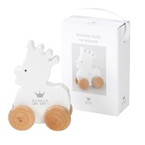 BamBam Wooden Duck On Wheels White