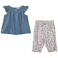 Ralph Lauren Blue Chambray Top and Floral Trouser Set 001