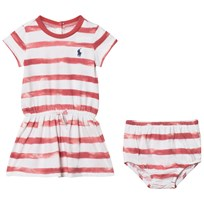 Ralph Lauren Striped Tee Dress and Bloomer Berry Pink 002