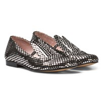 Minna Parikka Black and Silver Star Leather Bunny Ears Loafers BLACK - SILVER STARS LEATHER