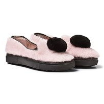 Minna Parikka Pale Pink and Black Pom Pom Shearling Slip Ons PALE PINK - BLACK SHEARLING