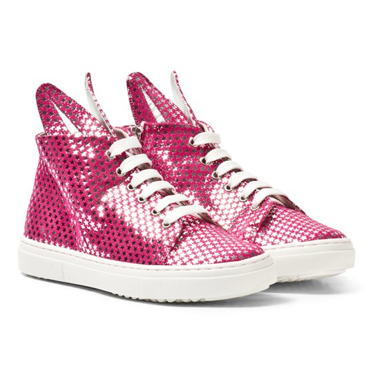 Minna Parikka Pink and Silver Star Leather Bunny Hi Top Trainers PINK - SILVER STARS LEATHER