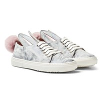 Minna Parikka Grey Fur Print Suede Bunny Pom Pom Trainers GREY FUR