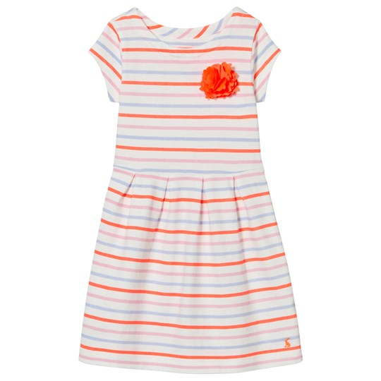 Tom Joule Blue and Orange Stripe Jersey Dress with Corsage MULTI STRIPE