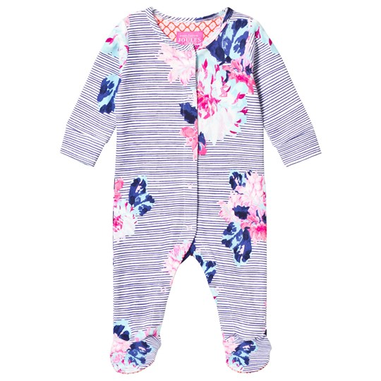 Tom Joule Navy Floral Stripe Babygrow CHALK POSEY STRIPE
