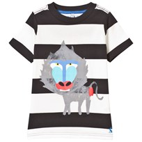 Joules Black and White Baboon Print Tee COAL BABOON STRIPE