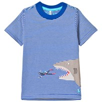 Joules Blue Stripe Shark Applique Tee BOLD BLUE DIVER