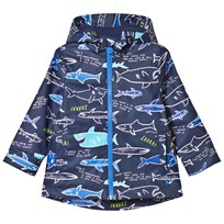 Joules Navy Shark Print Raincoat NAVY SHARK FACTS