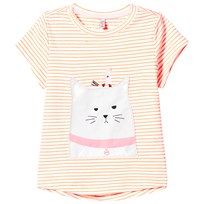 Joules Orange Stripe Cat and Mouse Applique Tee BRIGHT ORANGE CAT