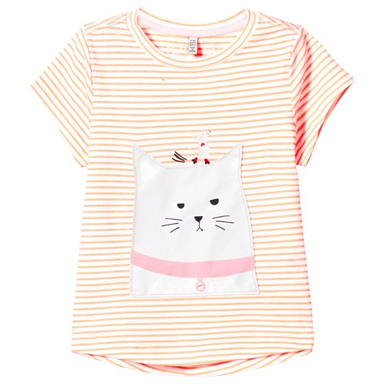 Tom Joule Orange Stripe Cat and Mouse Applique Tee BRIGHT ORANGE CAT