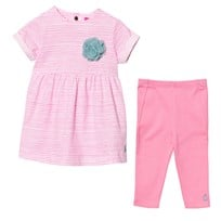 Joules Bright Pink Stripe Dress and Leggings Set NEON PINK ROES