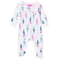 Joules White Ice Cream Print Footed Baby Body