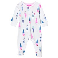 Joules White Ice Cream Print Footed Baby Body CHALK ICE CREAM