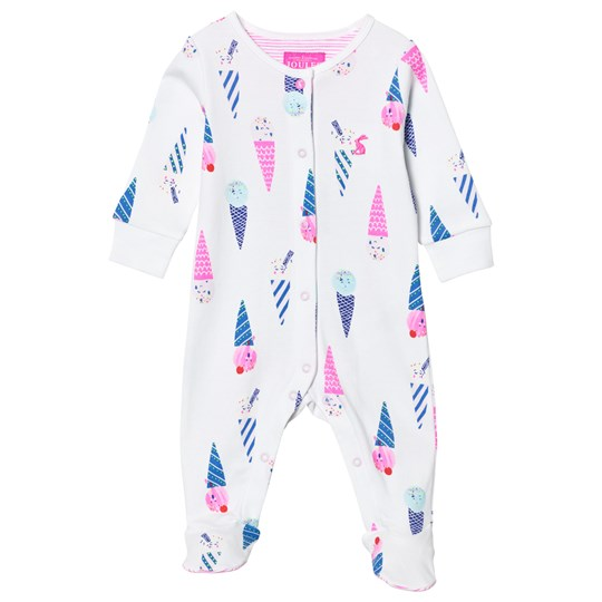 Tom Joule White Ice Cream Print Footed Baby Body CHALK ICE CREAM