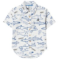 Joules White Shark Print Shirt CREAM SHARK FACTS