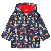 Hatley Navy Space Aliens Print Fleece Lined Raincoat Marinblå
