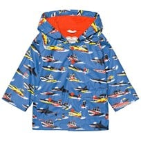 Hatley Blue Monster Boat Print Fleece Lined Raincoat Blue
