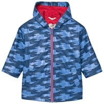 Hatley Blue Rocket Ships Print Fleece Lined Raincoat Blue