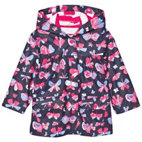 Hatley Navy Butterflies Print Fleece Lined Raincoat NAVY BUTTERFLIES