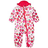 Hatley White Strawberry Print Puddle Suit Cream