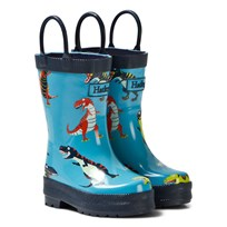 Hatley Blue Dinosaur Print Wellies Blue