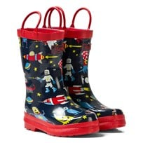 Hatley Navy Space Aliens Print Wellies Laivastonsininen