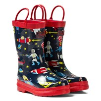 Hatley Navy Space Aliens Print Wellies Marinblå