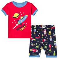 Hatley Navy and Red Space Applique Short Pyjamas Navy