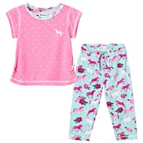Hatley Pink and Turquoise Horse Print Loose Pyjamas Pink