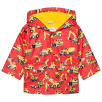 Hatley Red Diggers Print Fleece Lined Raincoat Red