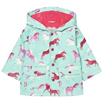 Hatley Aqua Horse Print Fleece Lined Raincoat Aqua