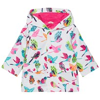 Hatley Cream Tropical Birds Print Fleece Lined Raincoat White