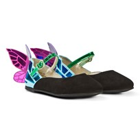 Sophia Webster Mini Chiara Mini Black Suede Fluro Butterfly Shoes Black & Teal